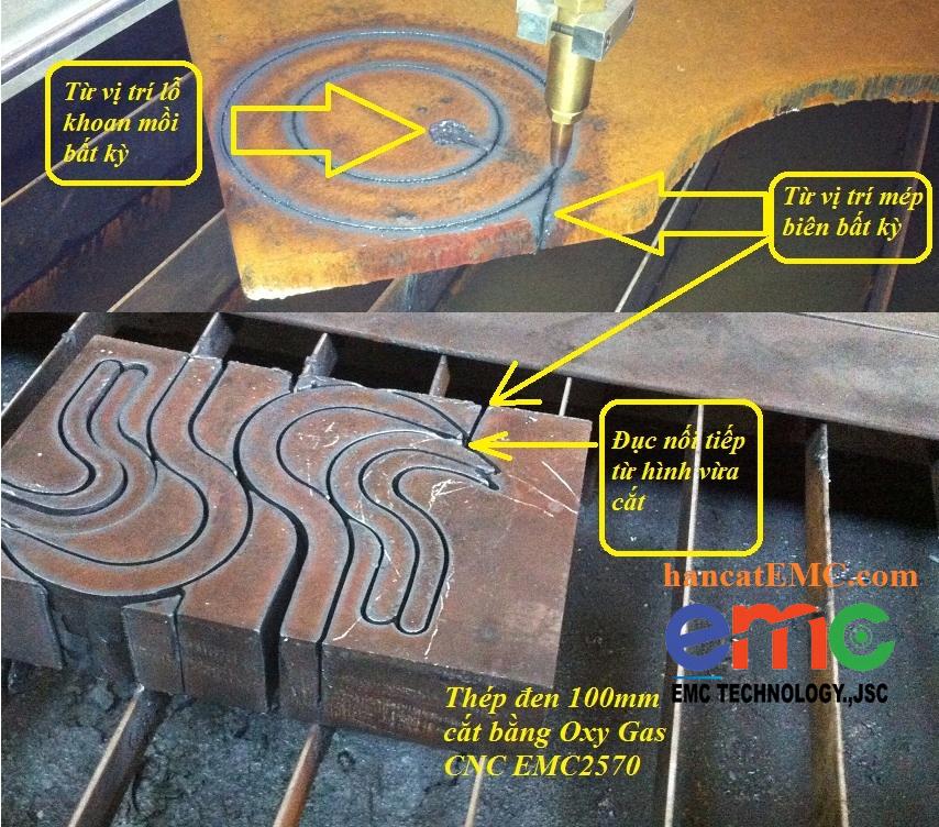 chức năng cắt từ biên để tránh đục lỗ khi cắt tấm dày