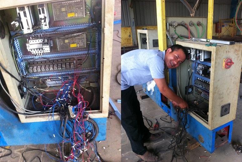 Đấu nối lại toàn bộ hệ thống điện, các tín hiệu IN-OUT...Kết nôi các tín hiệu kết nối với bộ điều khiển CNC mới
